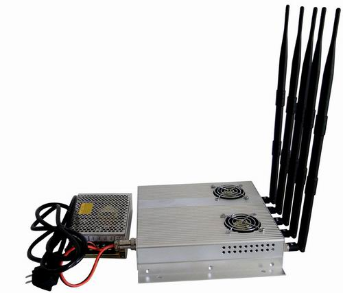 Wholesale 5 Antenna 25W High Power 3G Cell phone Jammer with Outer Detachable Power Supply
